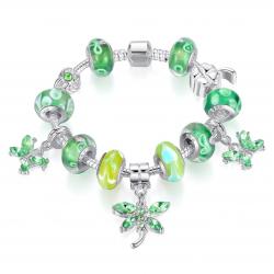 Women Silver Charm Bracelet with Green Butterfly Beads Chain CBD-29
