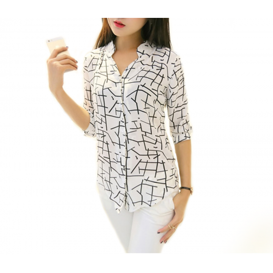 Women's Irregular Lines Style Striped Casual Shirt WC-92L