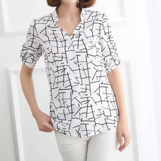 Women's Irregular Lines Style Striped Casual Shirt WC-92 |image