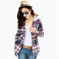 Women Flannel Plaid Design Blue with Grey Color Hoodied Shirt WH-19BG