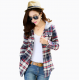 Women Flannel Plaid Design Blue with Grey Color Hoodied Shirt WH-19BG image