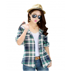 Women Flannel Plaid Design Grey with Green Color Hoodied Shirt WH-19GG