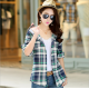 Women Flannel Plaid Design Grey with Green Color Hoodied Shirt WH-19GG image