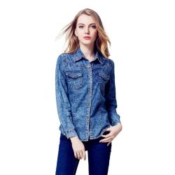 Women Slim Denim Snowflake Style Long Sleeve Blue Casual Shirt WC-93BL