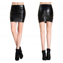 Women Fashion Sexy High Waist Leather Black Mini Skirt WC-94BK