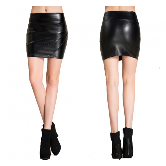 Women Fashion Sexy High Waist Leather Black Mini Skirt WC-94BK
