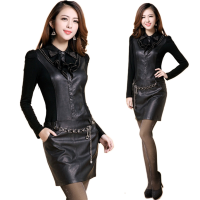 Black Color Women Elegant Temperament Long Sleeved Leather Dress  WC-104BK