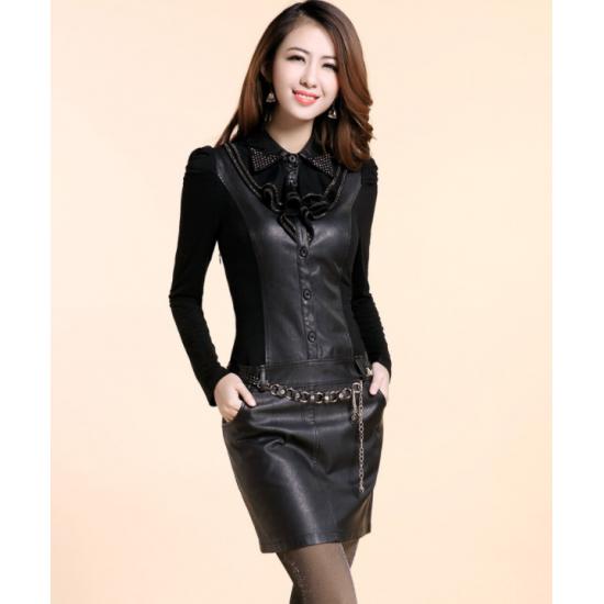 Black Color Women Elegant Temperament Long Sleeved Leather Dress  WC-104BK