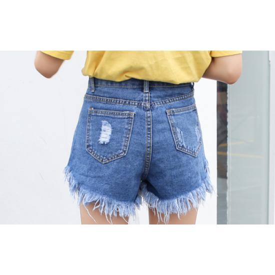 Women Light Blue Nets Hole Denim Elastic Jeans Skirt WC-97BL