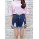 Women Dark Blue Nets Hole Denim Elastic Jeans Skirt WC-97DB