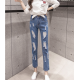 Latest Design Tight Ripped Denim Holes High Waist Jeans Pants WC-99BL