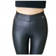 Women Tight Slim PU Matte Cashmere High Waist Leather Pants WC-103BK image