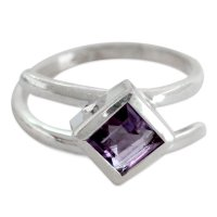 Lilac Spin Hand Crafted Sterling Silver Single Stone Amethyst Ring ANDR-15