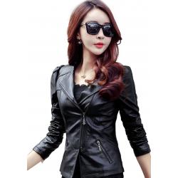 Women Trendy Body Fit Design Leather Black Casual Jacket WJ-13BK