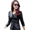 Women Trendy Body Fit Design Leather Black Casual Jacket WJ-13BK