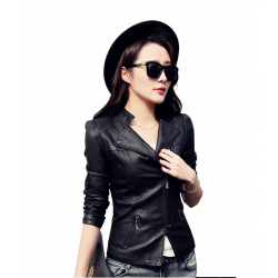 Slim Body Fit Women Paragraph Casual Leather Jacket WJ-09BK