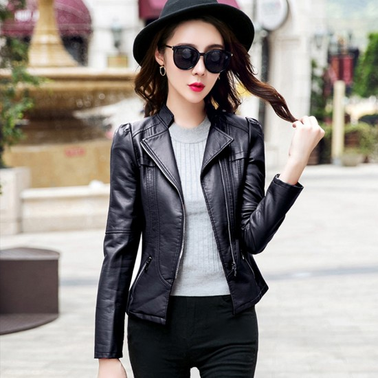 Slim Body Fit Women Paragraph Casual Leather Jacket WJ-09BK image