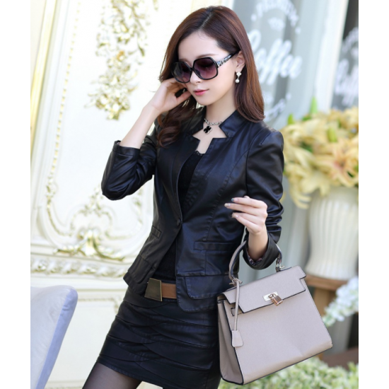 Ladies Leisure Style Slim Body Fit leather Casual Jacket & Leather Skirt WJ-10BK image