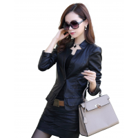 Ladies Leisure Style Slim Body Fit leather Casual Jacket & Leather Skirt WJ-10BK