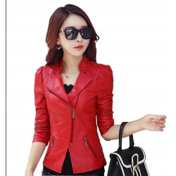 Women Trendy Body Fit Design Leather Red Casual Jacket WJ-13RD