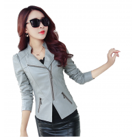Women Trendy Body Fit Design Leather Grey Casual Jacket WJ-13Gr
