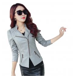 Women Trendy Body Fit Design Leather Grey Casual Jacket WJ-13Gr