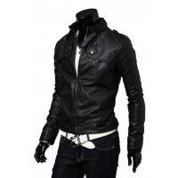 Men Best Pop Hot Stand Collar Leather Blazers Muscle Fit Shape Casual Jacket MJ-02BK