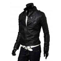 Men Best Pop Hot Stand Collar Leather Blazers Muscle Fit Shape Casual Jacket MJ-02BK