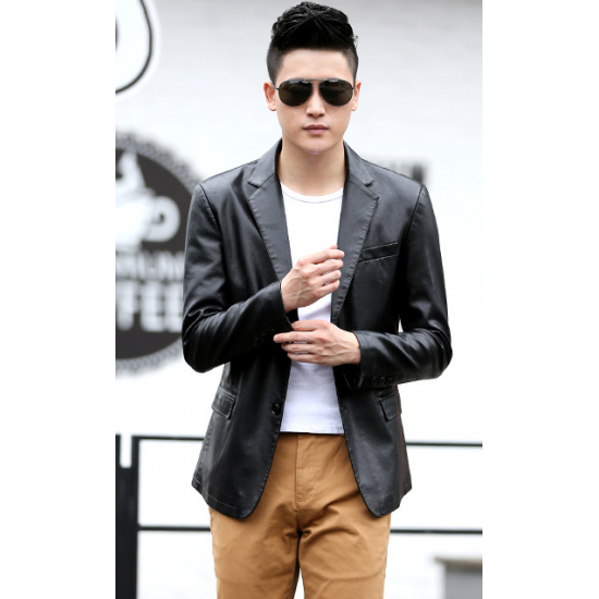 Men's Slim and Fit Good Quality Single Breasted Black Leather Casual Jacket MJ-01BK image