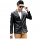 Men's Slim and Fit Good Quality Single Breasted Black Leather Casual Jacket MJ-01BK