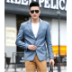 Men's Slim and Fit Good Quality Single Breasted Aqua Leather Casual Jacket MJ-01AQ image