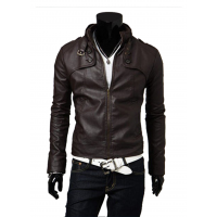 Men Best Pop Hot Stand Collar Leather Blazers Muscle Fit Shape Casual Jacket MJ-02DB