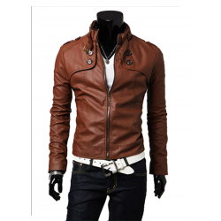 Men Best Pop Hot Stand Collar Leather Blazers Muscle Fit Shape Casual Jacket MJ-02BR