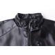 Autumn Casual Work Wear Pure Black Color Basal Men's Slim Fit Leather Casual Jacket MJ-07BK image