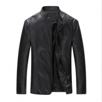 Men Body Fit Genuine Lambskin Faux Leather Black Casual Jacket MJ-09BK