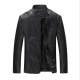 Men Body Fit Genuine Lambskin Faux Leather Black Casual Jacket MJ-09BK image