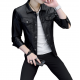 Latest Design Gents Fashion Slim and Fit Long-Sleeve Black Leather Casual Jacket MJ-06BK