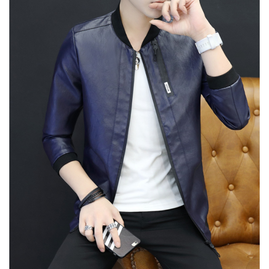New Explosions Slim Korean Cashmere Blue Color Locomotive Leather Casual Jacket MJ-05BL image