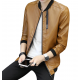 New Explosions Slim Korean Cashmere Brown Color Locomotive Leather Casual Jacket MJ-05BR