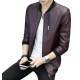 New Explosions Slim Korean Cashmere Maroon Color Locomotive Leather Casual Jacket MJ-05MR image