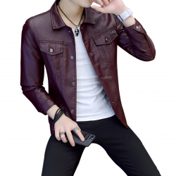 Latest Design Gents Fashion Slim and Fit Long-Sleeve Red Leather Casual Jacket MJ-06RD