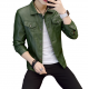 Latest Design Gents Fashion Slim and Fit Long-Sleeve Green Leather Casual Jacket MJ-06GN