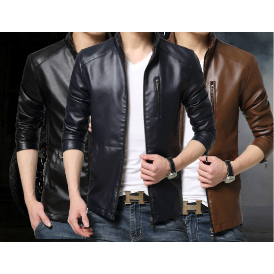 Autumn Casual Work Wear Pure Brown Color Basal Men's Slim Fit Leather Casual Jacket MJ-07BR image