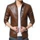 Autumn Casual Work Wear Pure Brown Color Basal Men's Slim Fit Leather Casual Jacket MJ-07BR