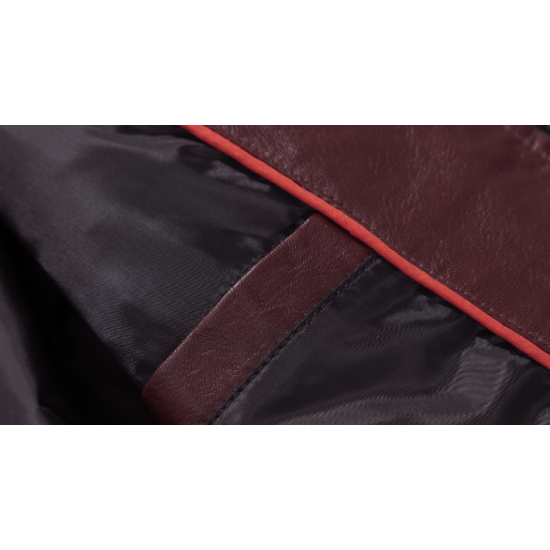 Men Body Fit Genuine Lambskin Faux Leather Red Casual Jacket MJ-09RD image