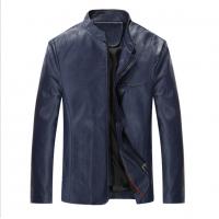 Men Body Fit Genuine Lambskin Faux Leather Blue Casual Jacket MJ-09BL