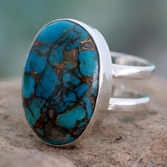 Blue Island Blue Composite Turquoise Sterling Silver Ring ANDR-19