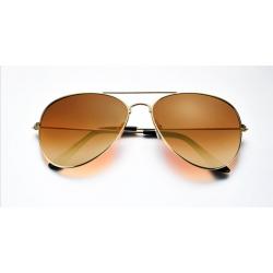Brown Shades Bright Reflective Aviator Unisex Sunglasses G-04 (Brown)
