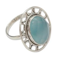 Mumbai Sky Modern Silver Ring with Blue Chalcedony ANDR-21