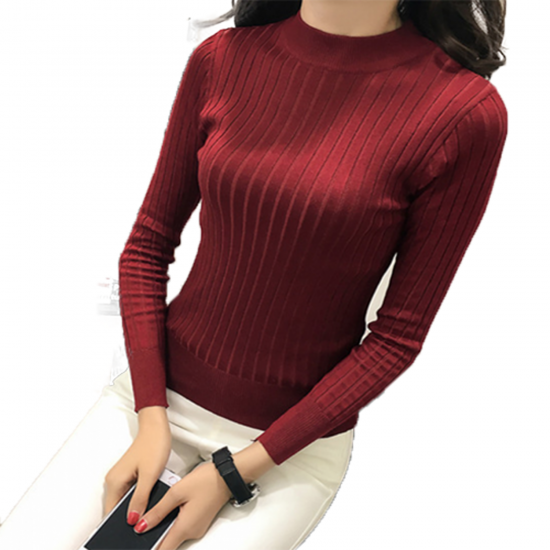 New Cashmere Round Neck Short Paragraph Red Slim Sweater WH-17RD image